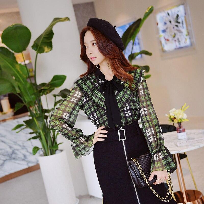 586c57b5 Dabuwawa Autumn Plaid Chiffon Blouse Female 2018 New Fashion V-neck Lace Up  Long Butterfly Sleeve ShirtsTop | AMO