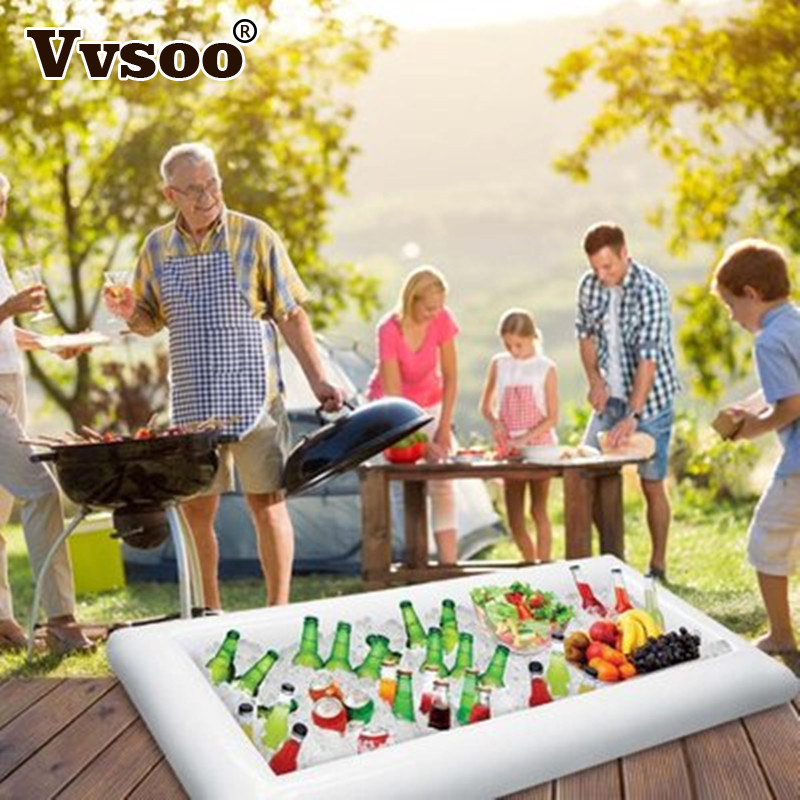 Vvsoo PVC Inflatable Beer Table Pool Float Summer Water Party Air Mattress Ice Bucket Serving/Salad Bar Tray Food Drink Holder