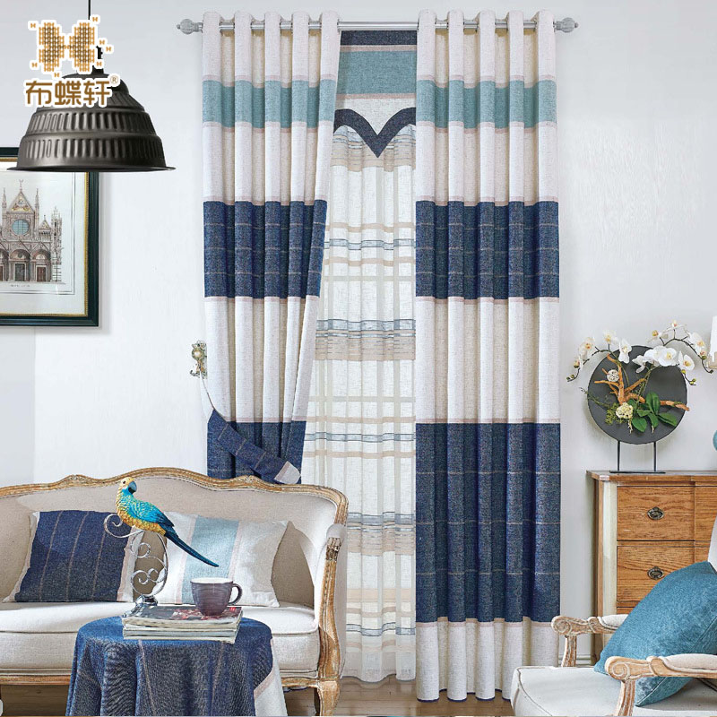 New arrival north european style striped denim blue drapes - European style curtains for living room ...