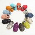 Retail Nuevos muchachos de los bebés Zapatos Mocasines Zapatos de Bebé de Cuero Genuino franja Infantil del bebé Recién Nacido primer caminante botas