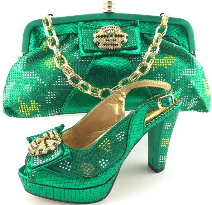 Rhinestone Zapatos Mujeres El Bolsa Para Azul Partido Señoras La Las Conjunto verde Tblue Con Zapato Decorado Africanos T oro Juego A De Y Italianas tqzwtHf