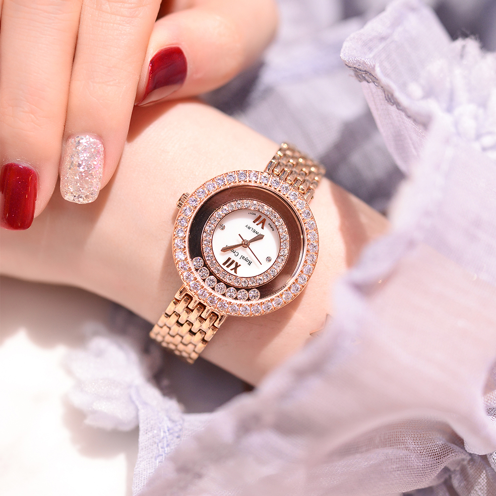 클로 설정 레이디 여성용 시계 일본 석영 패션 파인 스테인레스 스틸 팔찌 시계 소녀 생일 선물 로얄 크라운-에서여성용 시계부터 시계 의  그룹 1