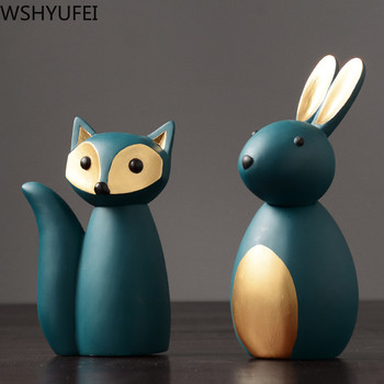1pcs pure natural resin elephant rabbit fox ornaments wedding office TV cabinet  decorations new house Christmas gifts
