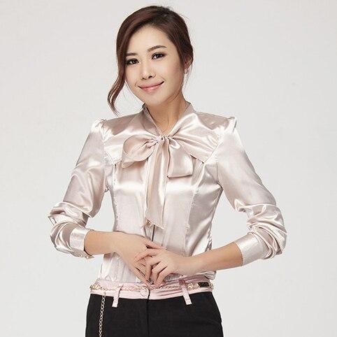 66e91b9101020 Women s Fashion Imitated Silk Bow Collar Lone Sleeve Shirt OL work Wear  Slim Blouse Tops