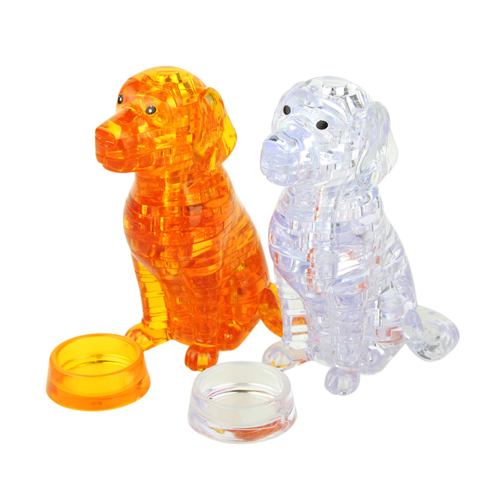 3D Crystal Puzzle Cute Dog Model DIY Gadget Blocks Building Toy Gift Education Toy Baby  ...