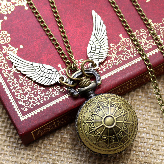 Fashion Woman Lady Wings Birds Antique Steampunk Pocket Watch with Chain Necklace fashion antique steampunk golden wings ball shape pocket watch men woman lady children necklace pendant little clock gifts p514