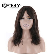 "KEMY HAIR FASHION 18 ""Natural Wave Human Hair Ingen Lace Parykker Med Bangs Middle Part Brazilian Remy Natural Color Parykker For Women"