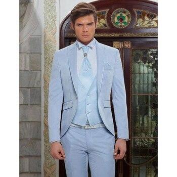Custom Light Blue Classic Men Suit For Beach Wedding Party Elegant Tuxedos 3 Piece Terno Masculino (Jacket+Pants+Vest) G502
