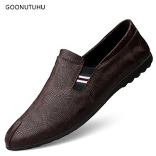 2019 new autumn fashion mens shoes causal genuine leather cow loafers slip-on shoe man black brown driving print for men