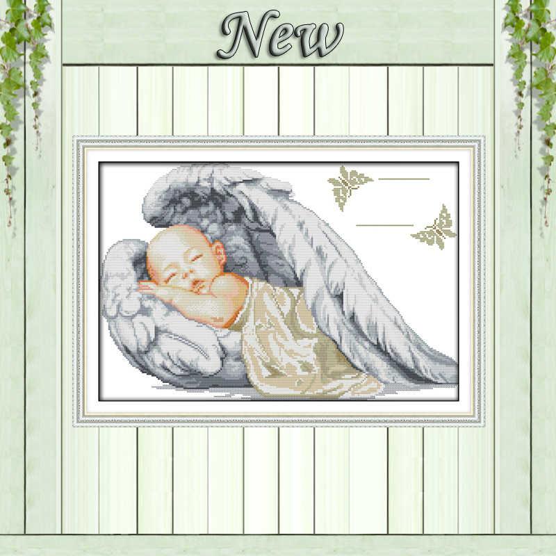 Little angel birth certificate,ถุงนอนเด็ก, รูปแบบพิมพ์ผ้าใบ DMC 14CT 11CT DIY Cross Stitch ชุดเย็บปักถักร้อยชุด