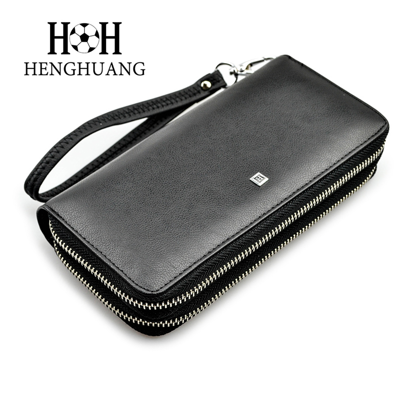HH Brand  Genuine Leather Men Wallets Double Zipper Business Male Long Wallet Coin  Man Clutch Handy Bags Coins Purses 2016 famous brand new men business brown black clutch wallets bags male real leather high capacity long wallet purses handy bags