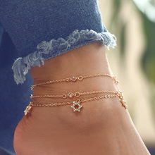 Crystal Star Leg Bracelet Anklets For Women Charm Gold Alloy Chain Glass Beaded Seed Foot Pendant Jewelry Punk Girl Giift alloy metal star charm chain bracelet