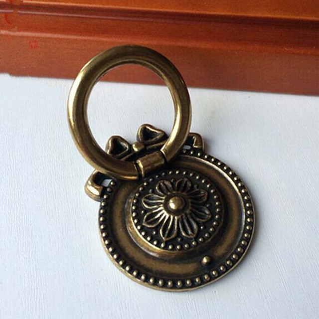 Vintage Shaky Drop Ring Furniture Hardware Knobs Lotus Handles Antique Brass  Drawer Shoe Cabinet Dresser Door