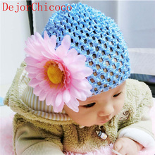 2017 Chiffon Sun Flower Baby Hat Cute Newborns Knitting Pink Hat Girl Photography Props Hat Toddler Cap Accessories DejorChicoco