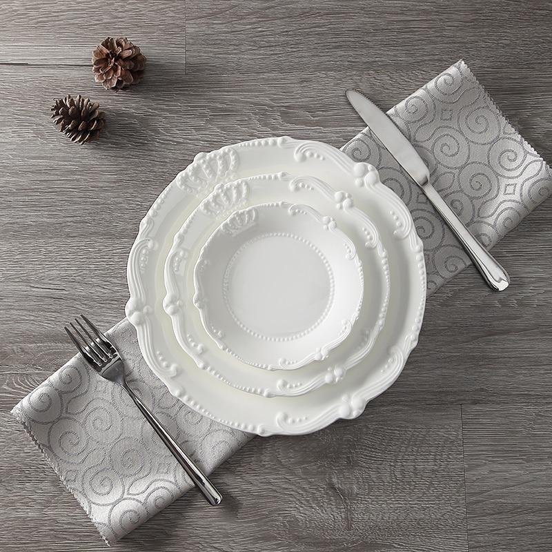 Service d'assiettes en céramique porcelaine | Soulagement de la couronne royale de 6 ''8'' 10 ''assiette principale, plateau de service, vaisselle pour Restaurant, Home café - 5