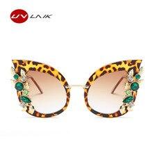 Uvlaik Роскошные Алмаз Солнцезащитные очки для женщин Для женщин Кошачий глаз Защита от солнца стекло Брендовая Дизайнерская обувь Винтаж со стразами Защита от солнца очки женские элегантные Очки HD