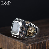 Fashion Real 925 Sterling Silver Ring For Men Thai Silver Black Zircon Exaggeration Adjustable Ring Fine Jewelry Free Shipping