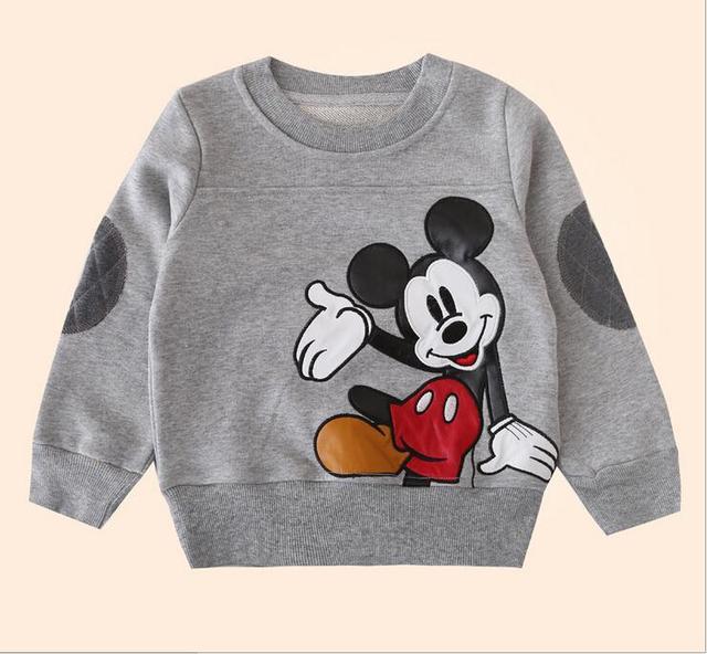 2016 Nova Primavera Outono Meninos Tops Padrão rato Dos Desenhos Animados Meninas Hoodies Outerwear Crianças Traje Do Bebê camisola de algodão
