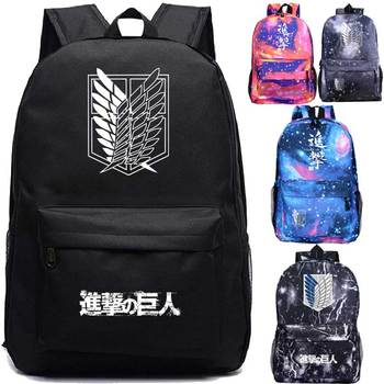 Attack on Titan Backpack Students Boys Girls Bags Fashion New Pattern Attack on Titan Schoolbag Teens Daily Backpack Travel Bag hot style canvas drawstring bags animation jojo bizarre adventure assassin s creed attack on titan gravity falls backpack bag