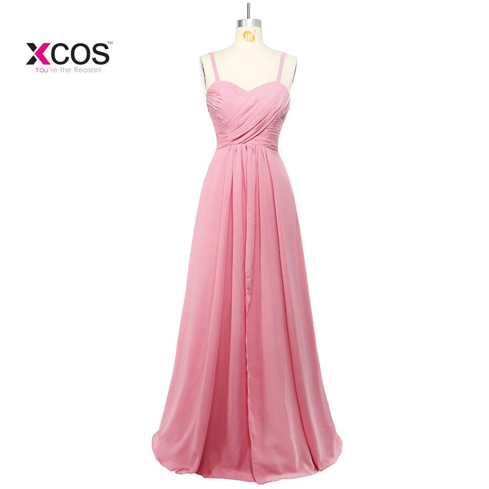 Blush Pink gasa vestidos de dama largo 2018 elegante playa Boho ...