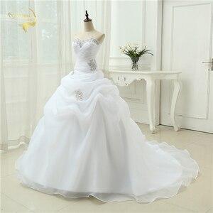 Image 3 - Gorąca sprzedaż New Arrival Vestido De Noiva linia suknia ślubna frezowanie biały suknia ślubna w kolorze kremowym 2020 szata De Mariage Casamento OW3199
