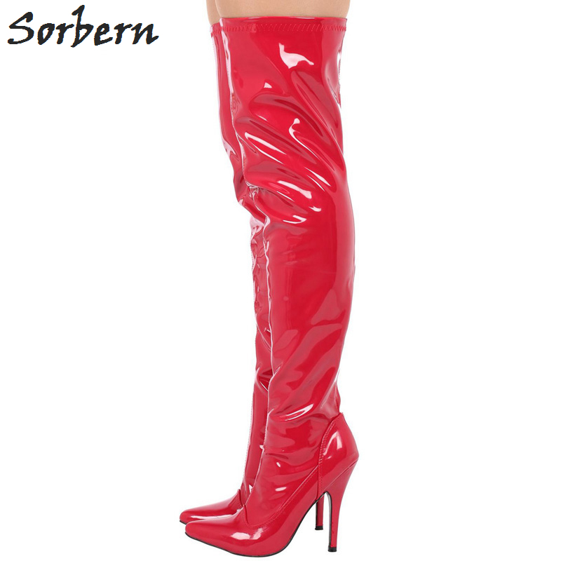 Sorbern Fashion 12CM High Heel Pointed Toe Thing High Boots For Woman Over The Knee Thigg High Long Boots2018Sorbern Fashion 12CM High Heel Pointed Toe Thing High Boots For Woman Over The Knee Thigg High Long Boots2018