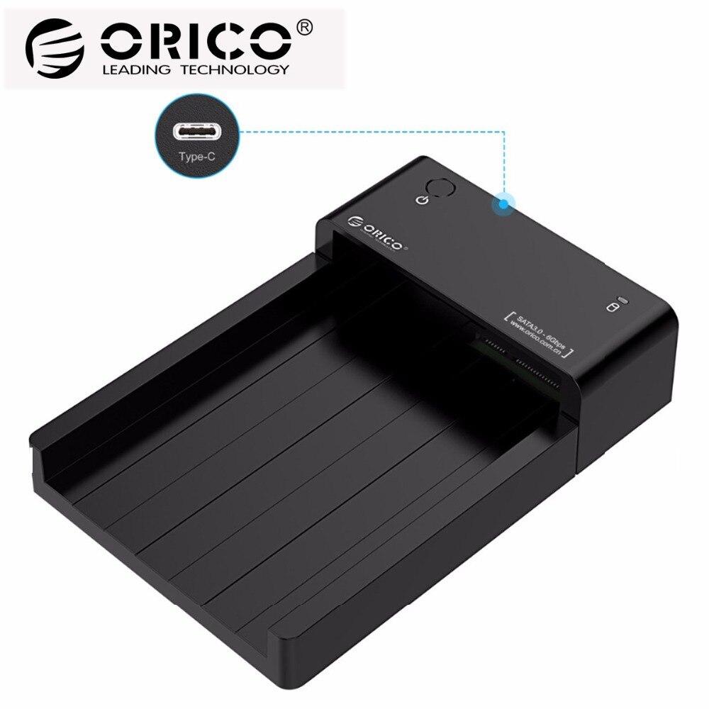 ORICO Tipo C Hdd SATA para USB 3.1 2.5 3.5 polegada Disco Rígido Externo Docking Station Suporte UASP 8 tb Drives
