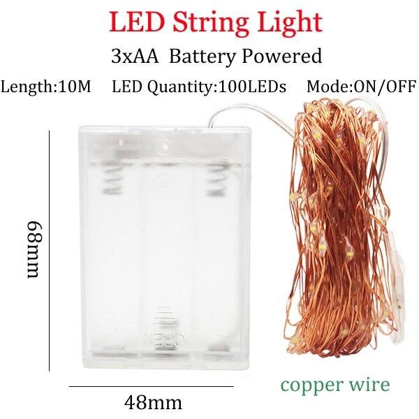 Светодиодный светильник-гирлянда s 10 м 5 м 2 м, серебряная гирлянда, украшение для дома, Рождества, свадьбы, вечеринки, питание от батареи 5 В, USB, сказочный светильник - Испускаемый цвет: 10m 3A copperBattery