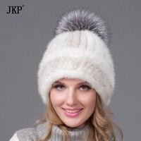 Women winter mink fur hat real knitted mink silver fox fur caps female Russian warm hat women's fur hat