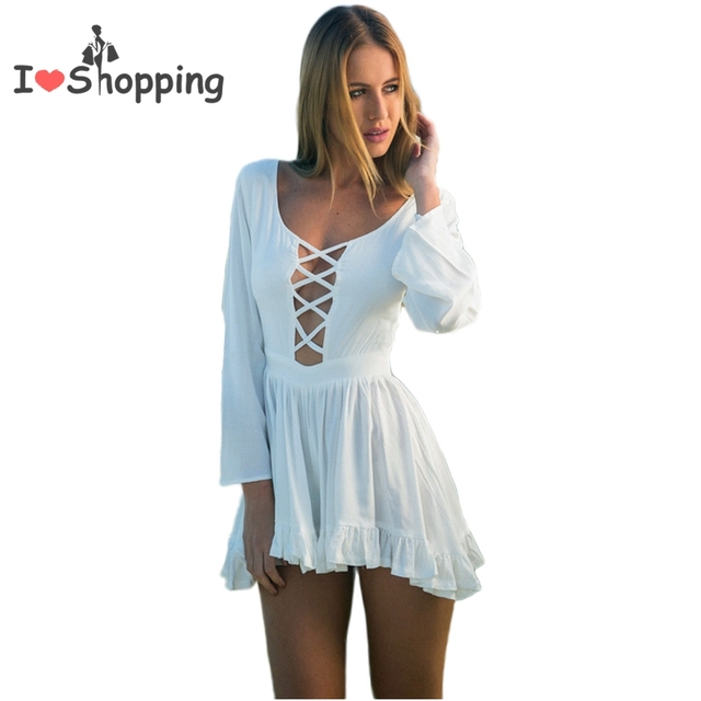 a3d6fdb99130 Summer Style White Jumpsuit Women Skirt Shorts Casual Hot Pants Cut Out Sexy  Resort Wear monos