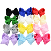 12pcs Lot 4 Inch DIY Grosgrain Ribbon Bow With Clip Kids Hairpins Children Hair Accessories 12
