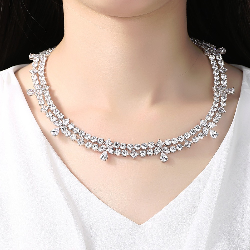 Image 3 - LUOTEEMI New Luxuries Delicate Wedding Jewelry Bridal Necklace  Flower Round Square Waterdrop Crystal Statement Bridesmaid  Chokernecklace flowerstatement chokercrystal choker