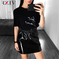 RZIV 2017 Women Skirts Casual Solid Color High Waist Skirt And Pu Leather Black Color Mini