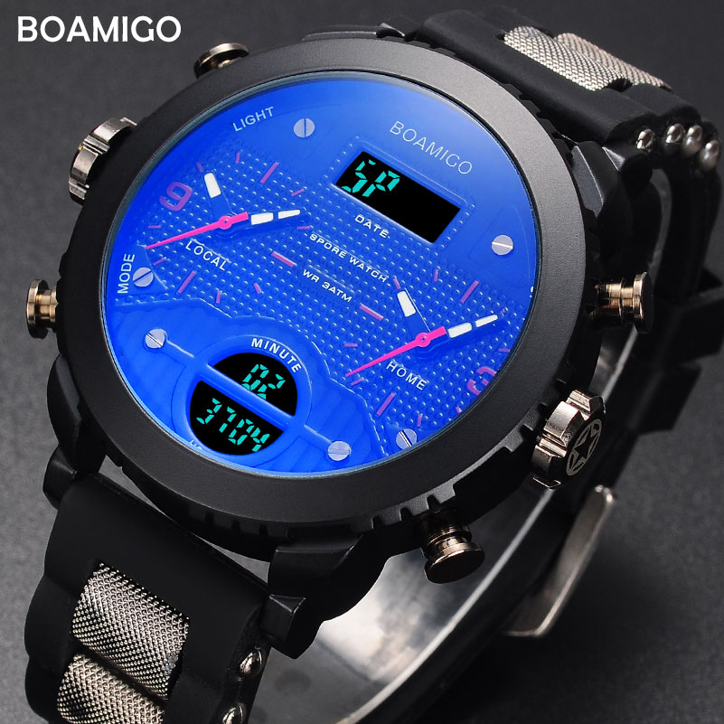 Men Watches Military Sport Watch BOAMIGO Brand 3 Time Zone Watches For Men LED Wristwatch 2017 Gift Clock With Box Reloj Hombre bewell multifunctional wooden watches men dual time zone digital wristwatch led rectangle dial alarm clock with watch box 021a
