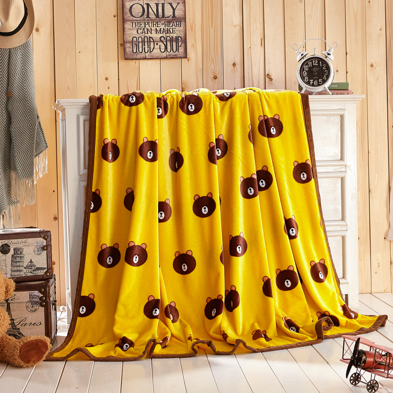 Coral Plush Bedding Soft Cotton Cartoon Blankets Children and adults used fot Air condit ...