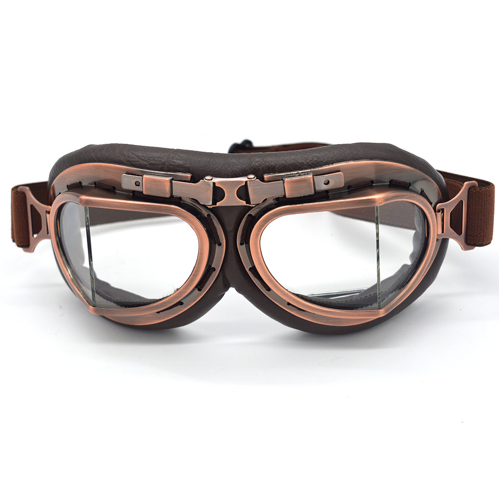 Vintage Copper Scooter Pilot Biker Glasses For Cafe Racer Dirt Bike Coffee Motocross Helmet Goggles With Clear Lens