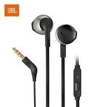 JBL T205 3.5mm Wired אוזניות משחק מוסיקה ספורט אוזניות דיבורית עם מיקרופון עבור iPhone אנדרואיד Smartphone אוזן טלפונים fone