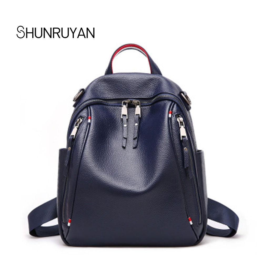 SHUNRUYAN New Brand Design Genuine Leather Casual Women Bag Backpack School Bag Fashion Teenager Package Shoulder Bag shunruyan 2018 brand design genuine leather women bag crossbody bag shoulder bag chain fashion party bag