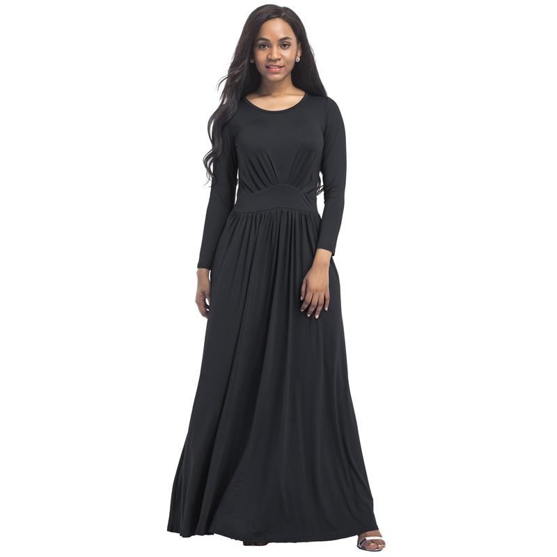 67ee7ec3edb Плюс размеры Вечеринка Туника Платье для жира 2018 Весна с длинным рукавом  Элегантные пикантные Плиссированные платье макси цвет  черный