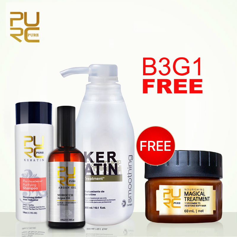 Buy 3Pcs get 1pcs Free 5% formalin keratin treatment purifying shampoo and 100ml argan oil