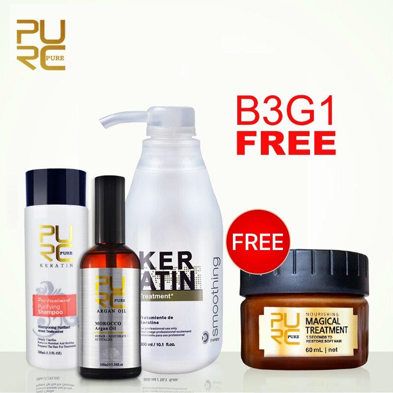 Comprar 3 Pcs obter 1 pcs Livre 5% formol tratamento de queratina shampoo purificante e 100 ml de óleo de argan e conjunto máscara de cabelo cuidado do cabelo produtos