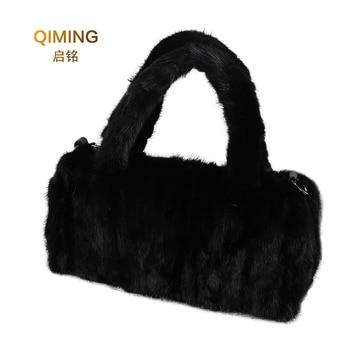 Women Mink bag 2019 new ladies fur bag fashion Mink fur handbag leisure fox fur bag black female bag B11