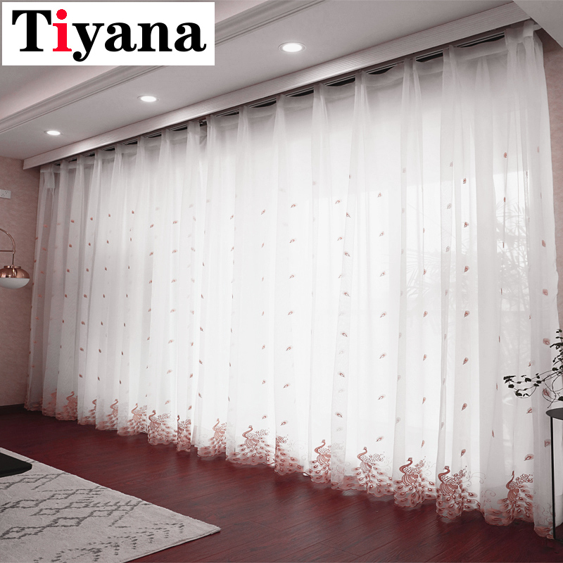 Pink Embroidered Peacock Design White Tulle Curtains For Living Room Sheer Curtains For Bedroom Window Drapes M81X
