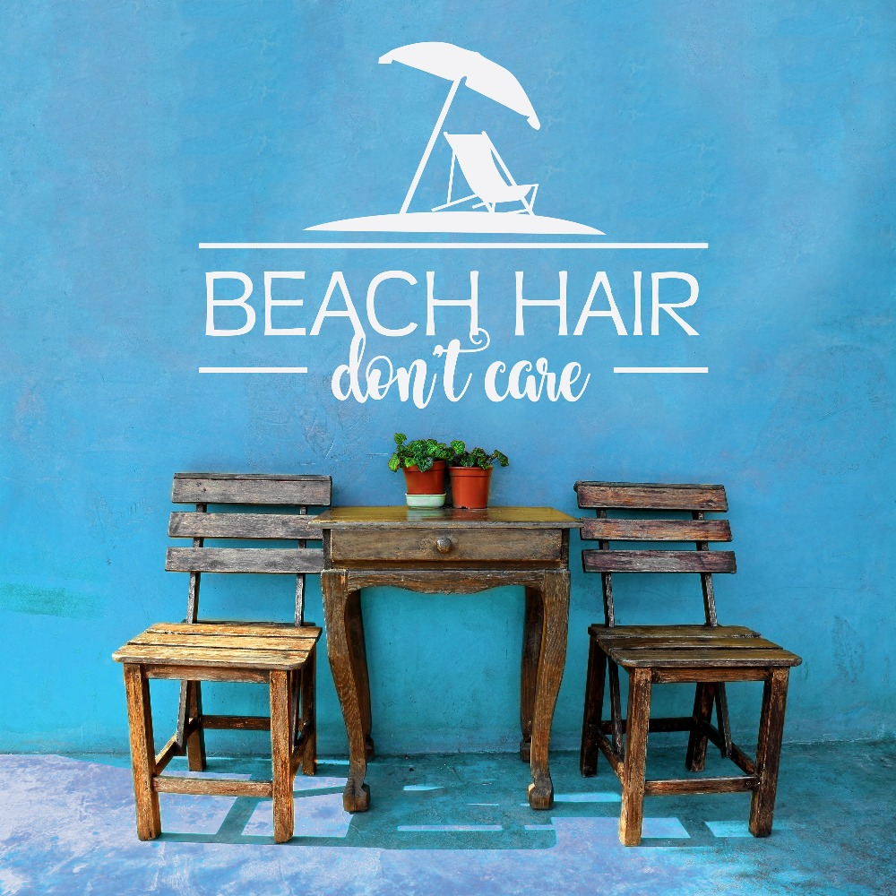 compare prices on beach wall decals online shopping buy low price beach hair don t care quotes vinyl wall stickers summer home decor art characters mural