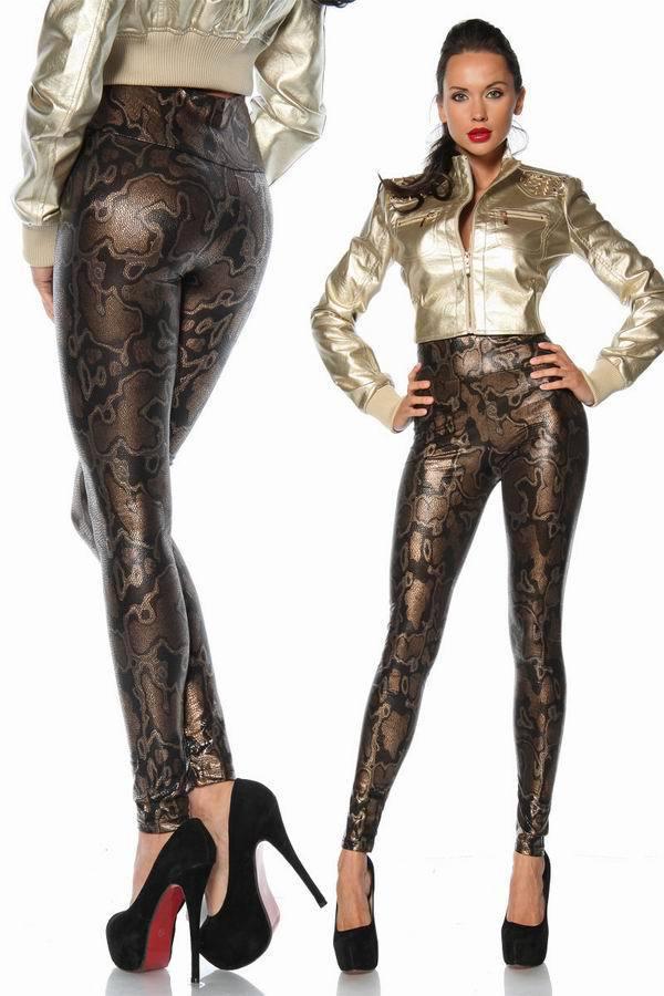 Sexy Snake Leather Print Leggigns 3S8449 Glitter   Leggings   Women Print Metallic   Leggings   Pants