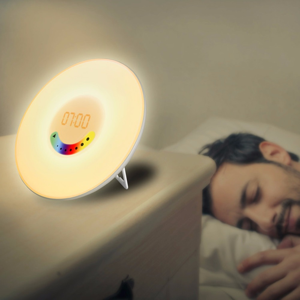 Creative Design Colorful Bedroom Wake Up Digital Alarm Clock Novelty RGB LED Sunrise Simulation Alarm Clock Light Lamp FM Radio