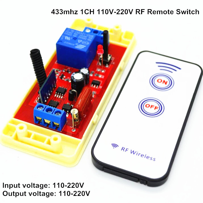 1 Channel Wireless Light Switch Remote Control Receiver Learning Module AC 110V 220V Input Output 433mhz RF 10A Relay ifree fc 368m 3 channel digital control switch white grey