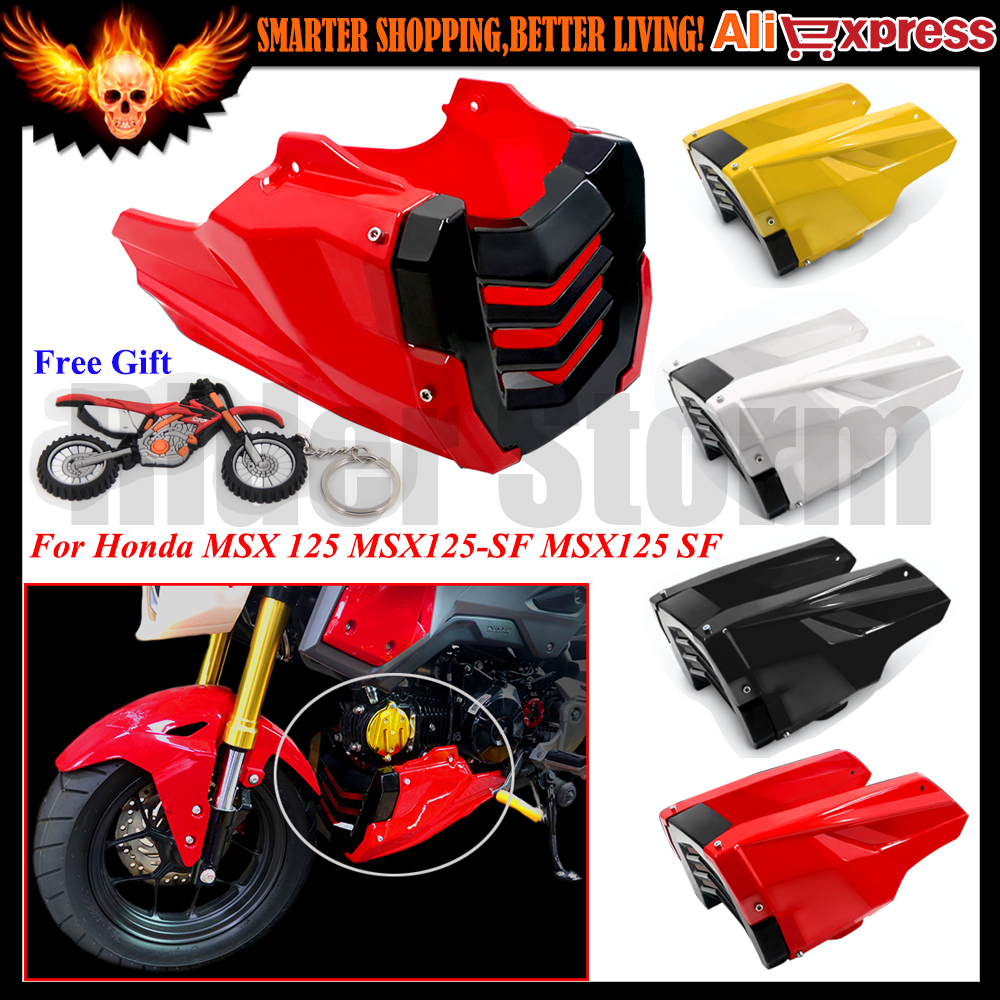 ФОТО Red Black Engine Protector Guard Cover Under Cowl Lowered Low Shrouds Fairing Belly Pan For Honda MSX 125 MSX125-SF MSX125 SF