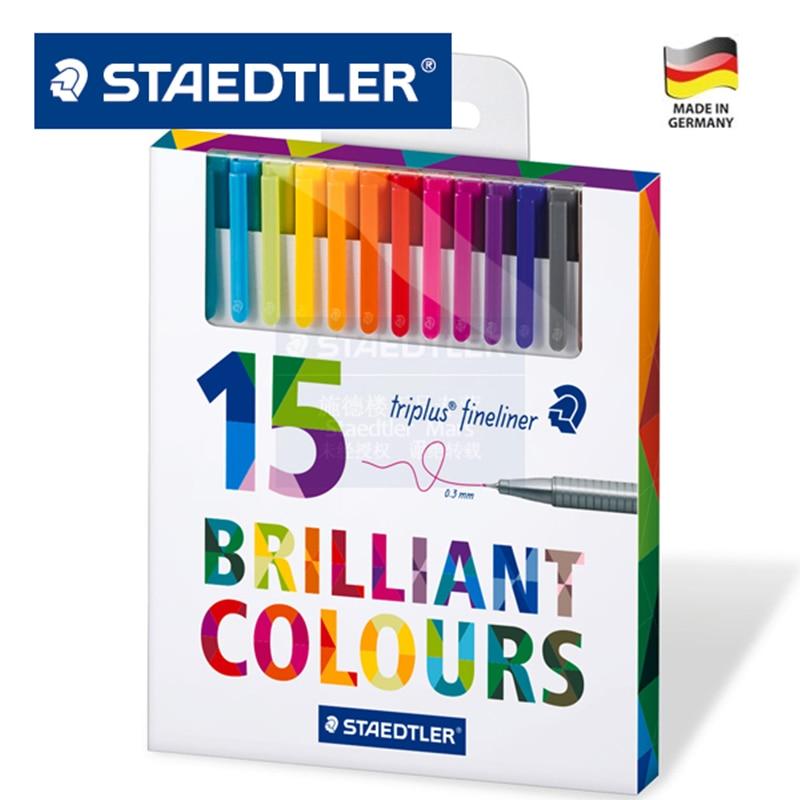 Staedtler 334 15 Triplus Fineliner Pens 0.3mm Marker Metal Clad Tip Color line pen needle pen gel pen 15 Colors Set