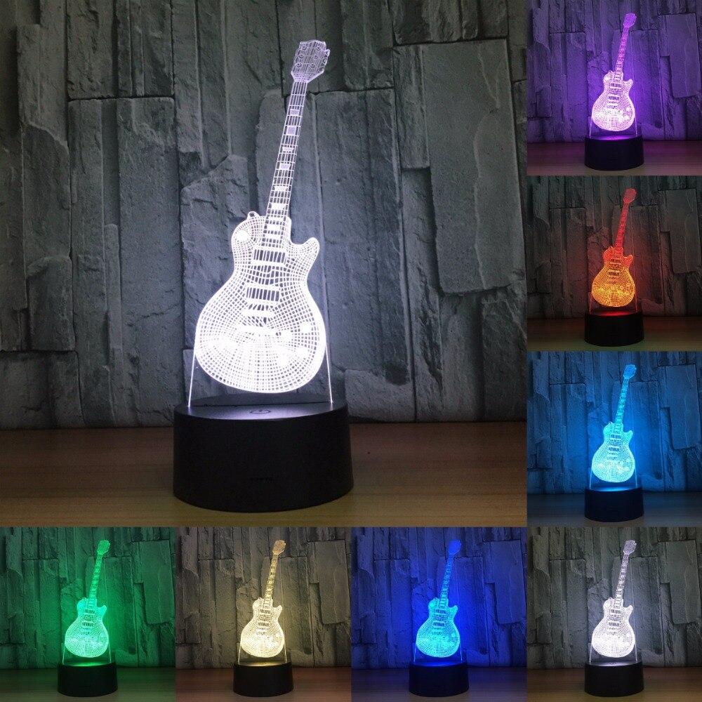 3D Led Visual Colorful USB Table Lamp Lampara Baby Sleeping Night Light Fashion Music Electric Guitar Lamp Decor Gifts IY803207